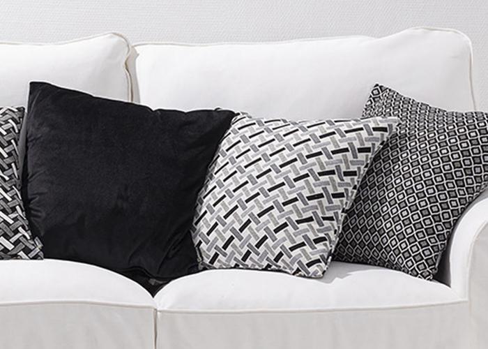 Jaquard vævede tekstiler i kollektionen Black&White